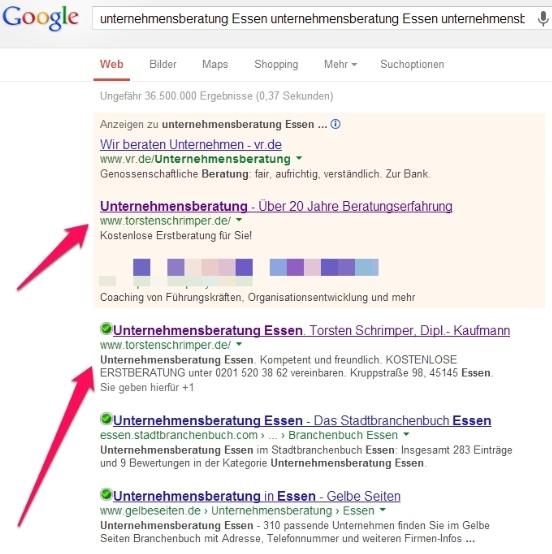 Unternehmensberatung Torsten Schrimper Platz 1 bei Google