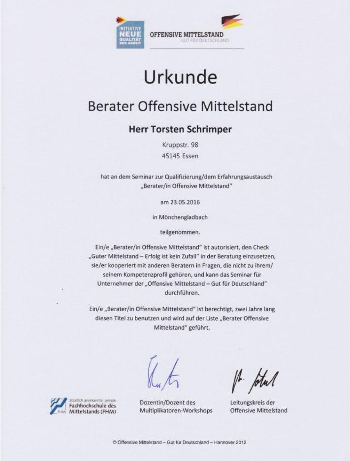Offensive Mittelstand Urkunden Unternehmensberatung Torsten Schrimper