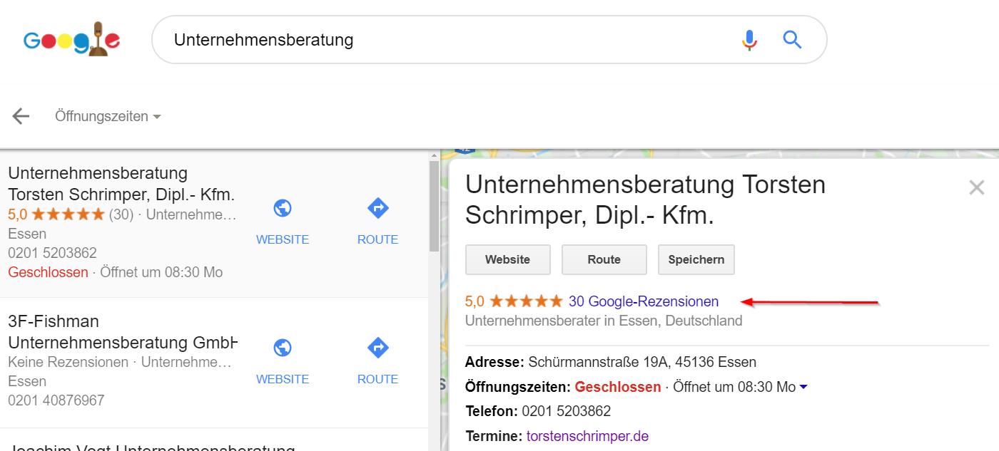 Bewertungen mit Google