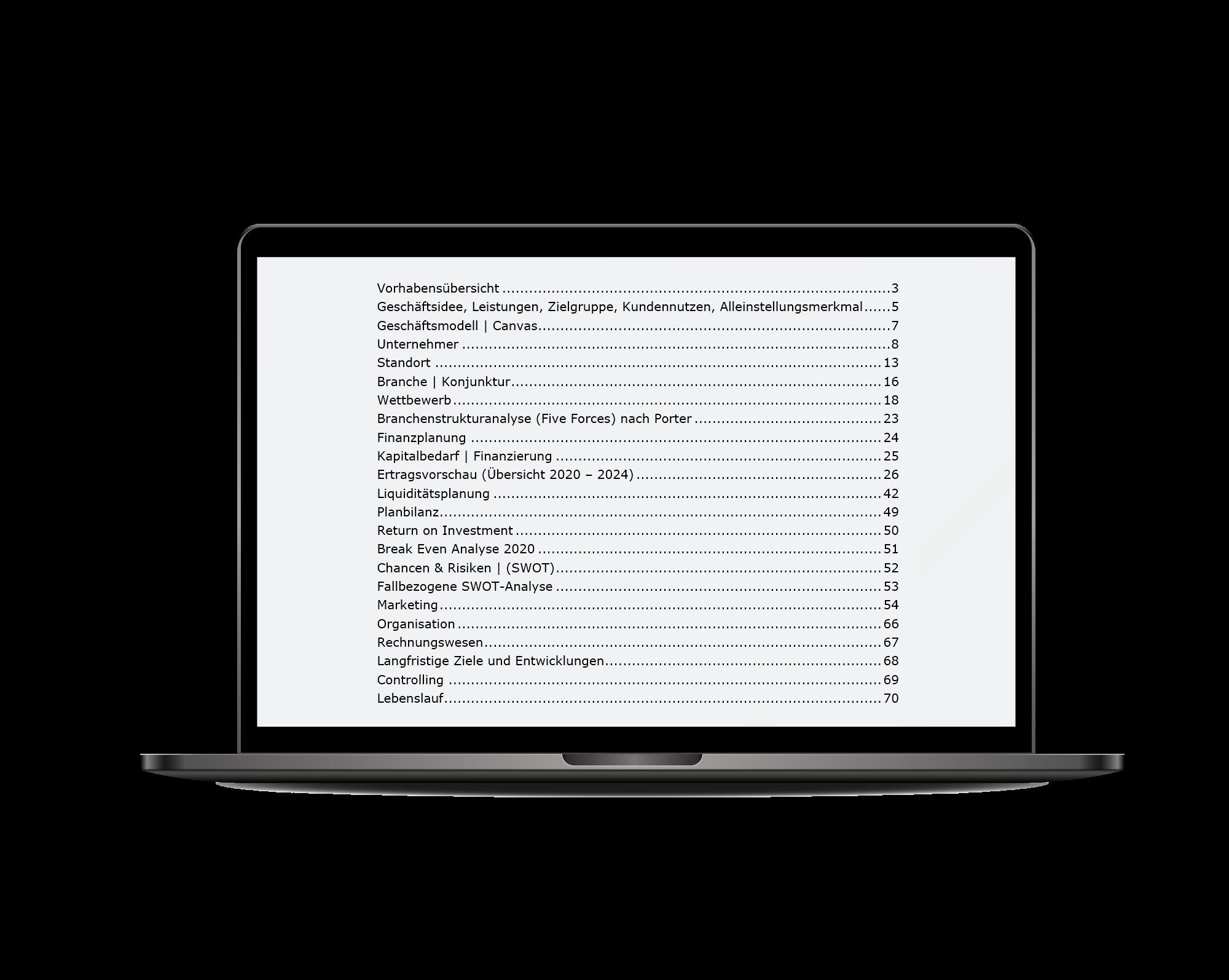 Businessplan Inhaltsverzeichnis